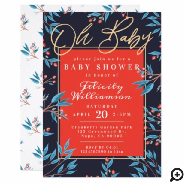 Navy Red Cranberry Floral Botanical Baby Shower Invitation