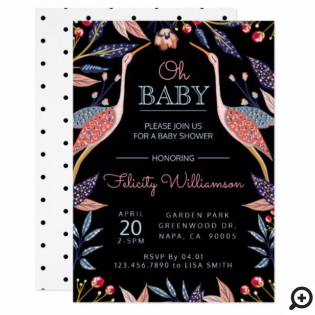 Chic Floral Botanical Stork Baby Shower Invitation
