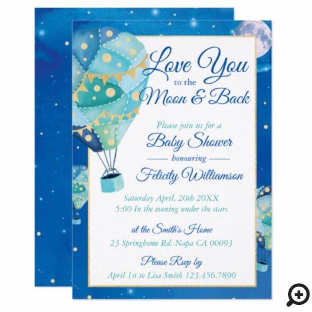 Night Stars Hot Air Balloon Baby Shower Invitation