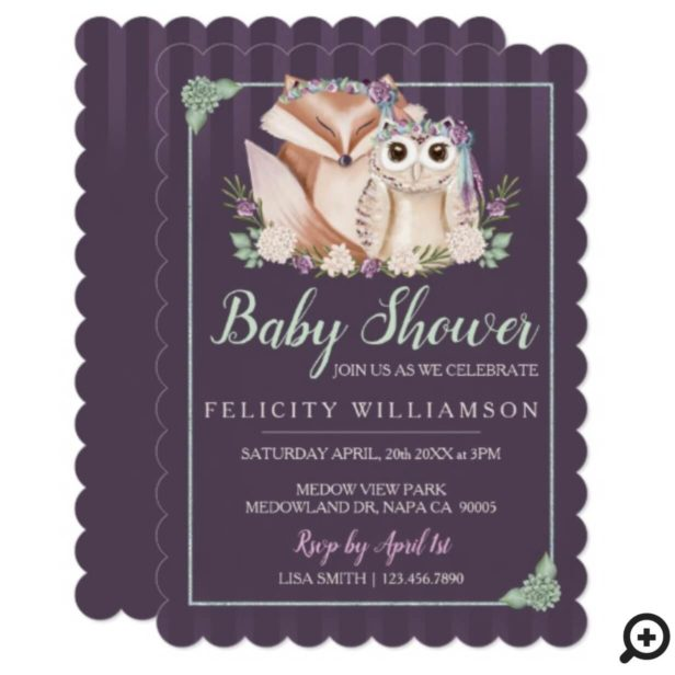 Cute Boho Forest Fox & Owl Baby Shower Invitation