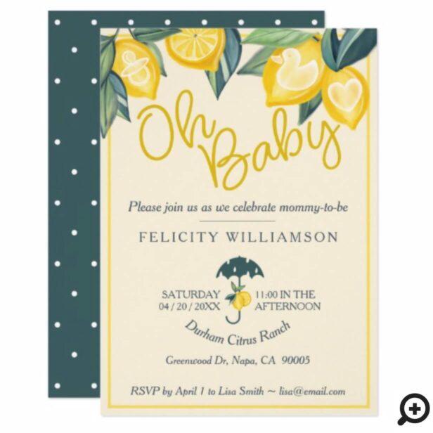 Yellow Lemon fruit Tree Baby Shower Invitation