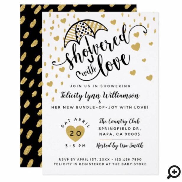 Modern Black Gold Umbrella Baby Shower Invitation