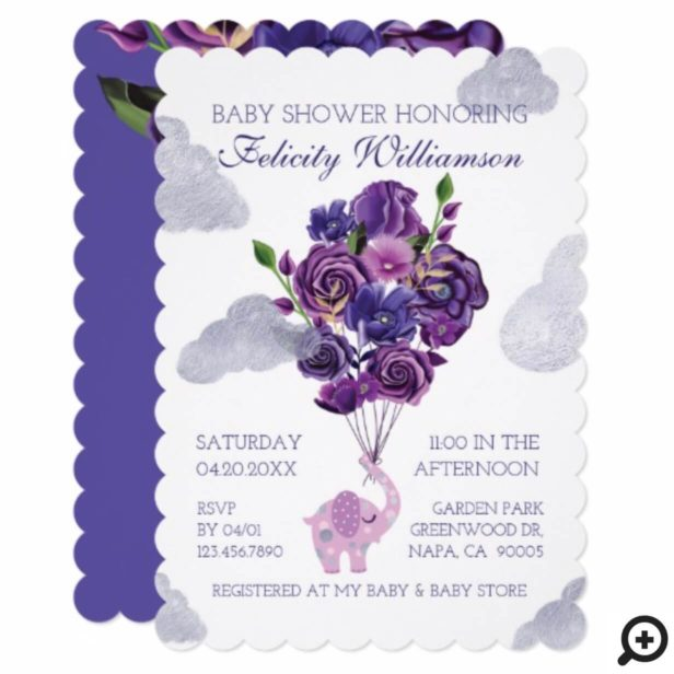 Elephant Floral Balloons Baby Shower Invitation