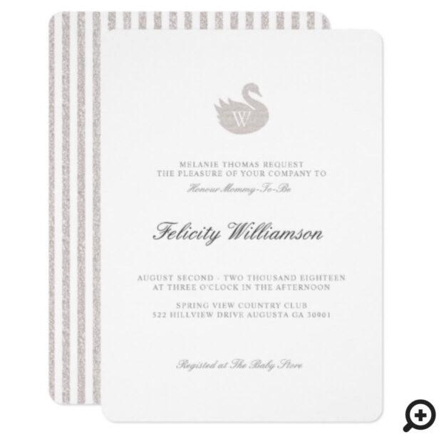 Chic Minimalistic Swan Gender Neutral Baby Shower Invitation