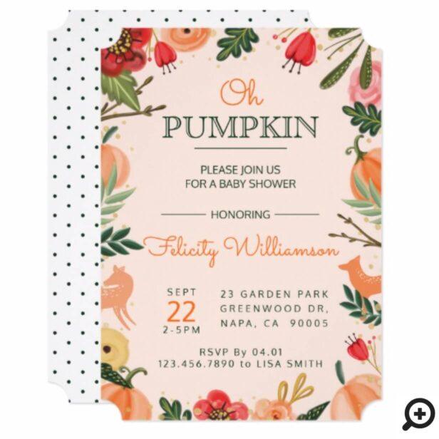 Autumn Florals & Foliage Pumpkin Patch Baby Shower Invitation