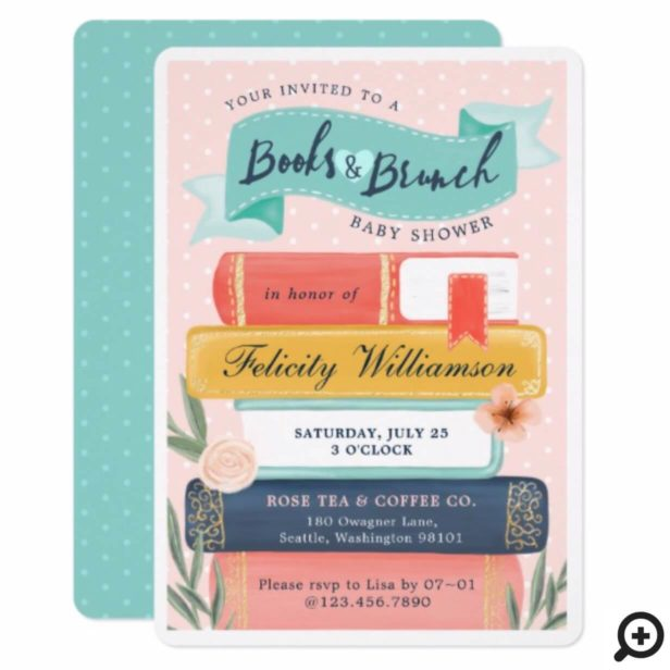 Chic Books & Brunch Floral Baby Shower Invitation