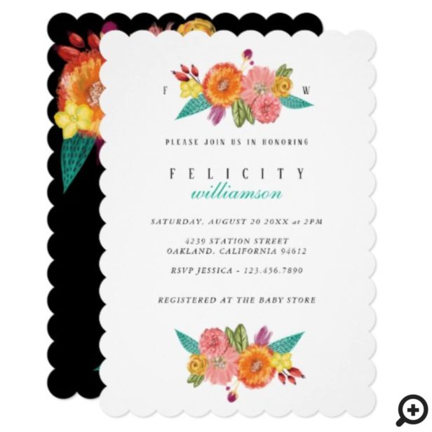 Wildflower Watercolor Floral Baby Shower Invite
