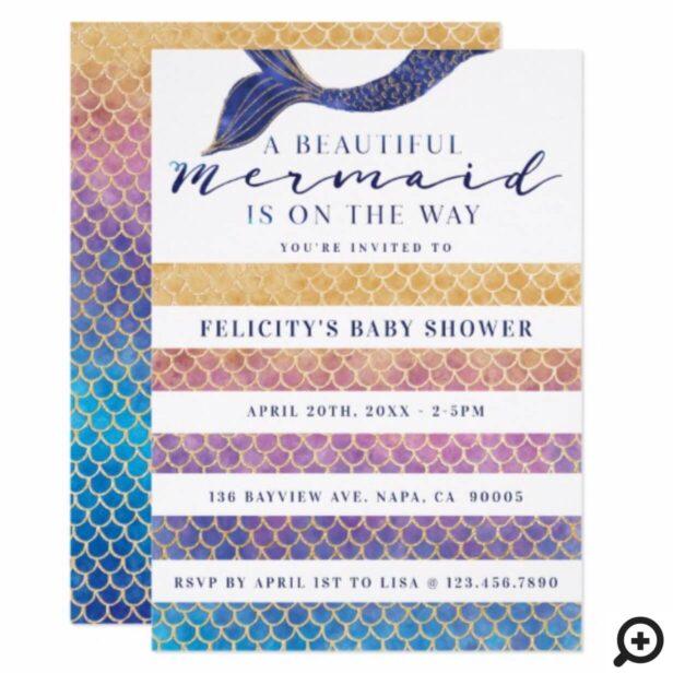 Rainbow + Gold Mermaid Scales & Stipe Baby Shower Invitation