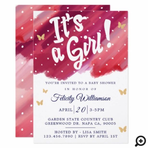It's a Girl Pink & Gold Watercolour Baby Shower Invitation