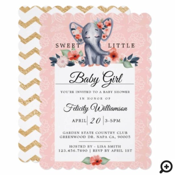 Baby Girl Floral Elephant Baby Shower Invitation