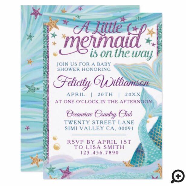 Whimsical Ocean Sea Mermaid Baby Shower Invitation