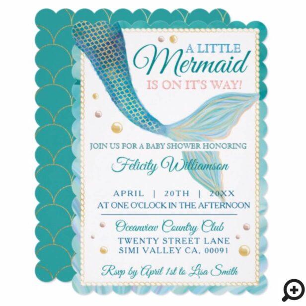 Aqua Ocean Mermaid Tail Baby Shower Invitation