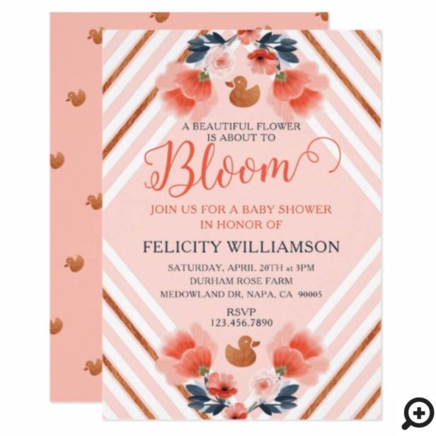 Blush Pink Floral Garden Baby Shower Invitation