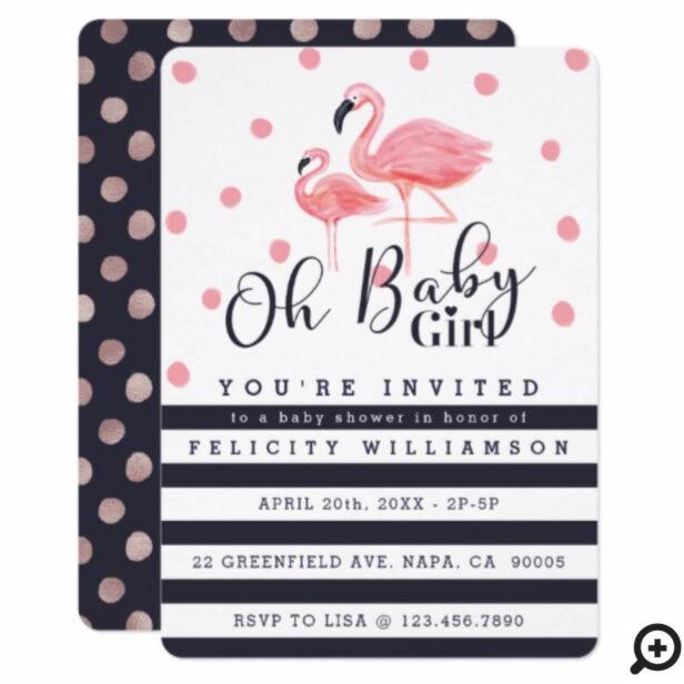 Oh Baby Girl Pink Flamingo Baby Shower Invitation