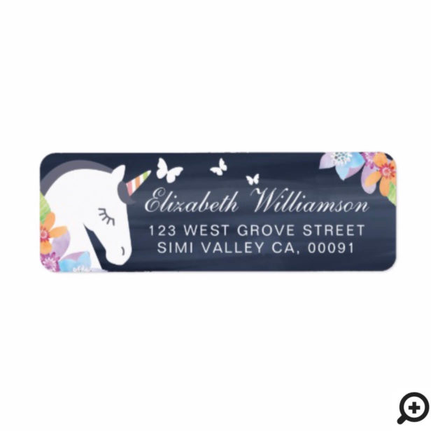 Grey Whimsical Magical Unicorn Butterfly & Floral Label