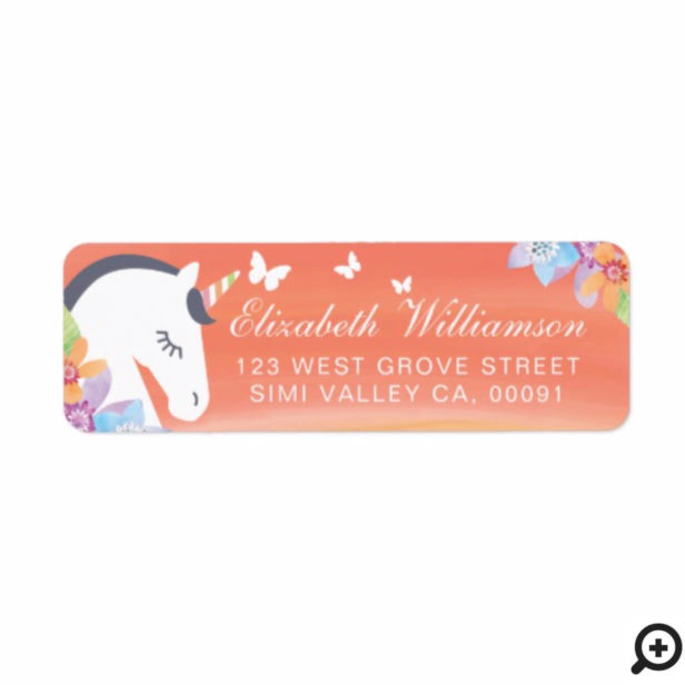 Orange Peach Magical Unicorn Butterfly Floral Label