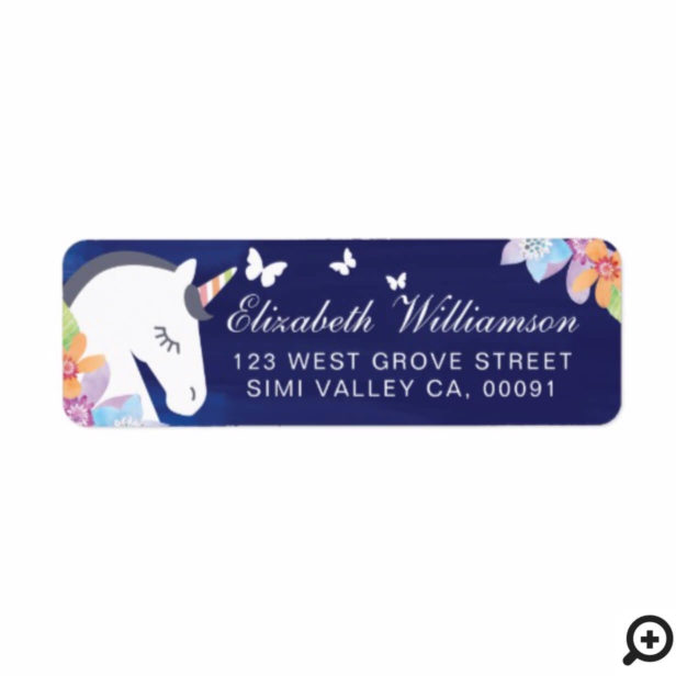 Navy Whimsical Magical Unicorn Butterfly Florals Label