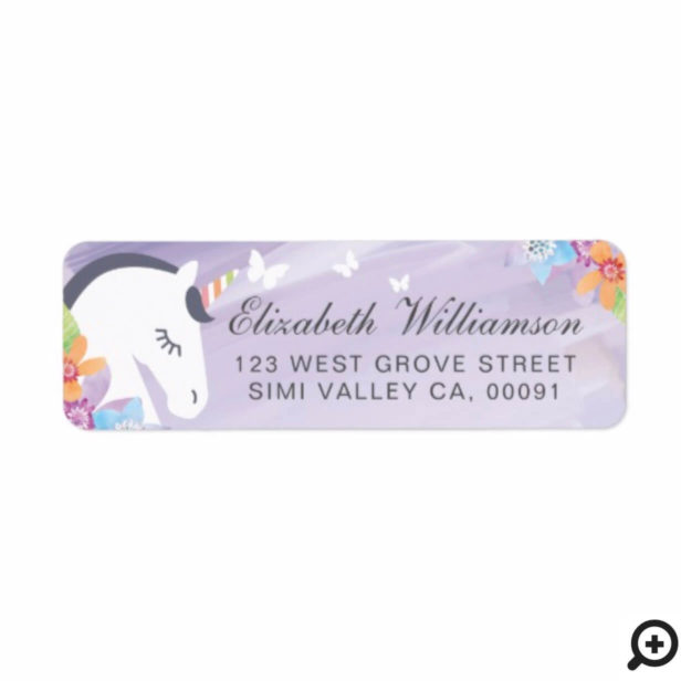 Purple Whimsical Magical Unicorn Butterfly Florals Label