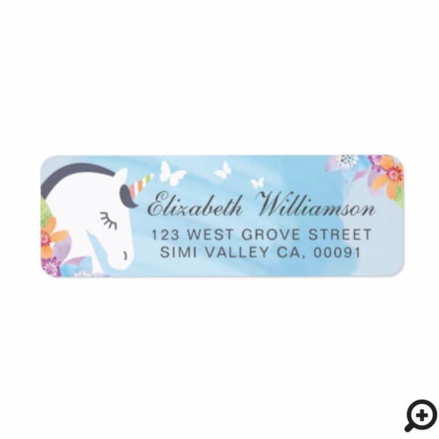 Blue Whimsical Magical Unicorn Butterfly & Florals Label