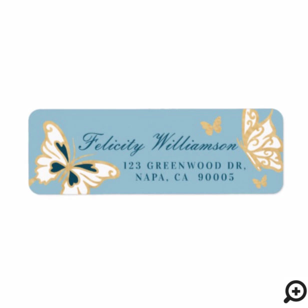 Magical Pretty Cute Gold and Blue Butterflies Label