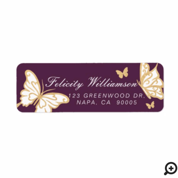 Magical Pretty Cute Gold & Purple Butterfly Label