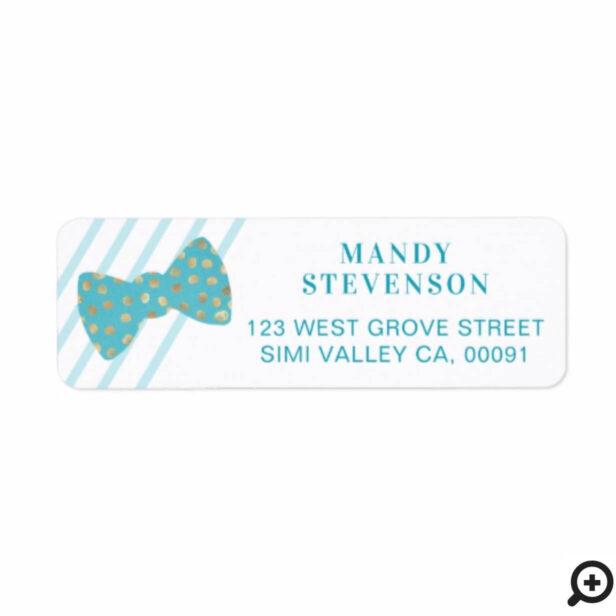 Modern Blue & Gold Polka Dot Bow Tie & Stripes Label