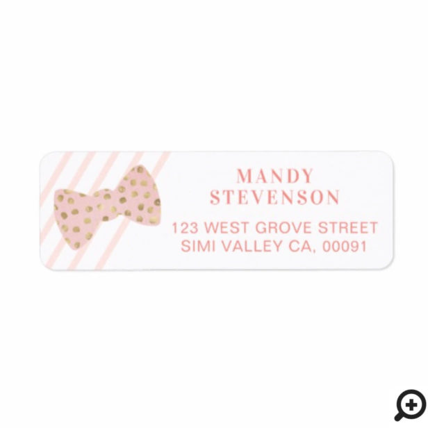 Modern Pink & Gold Polka Dot Bow Tie & Stripes Label
