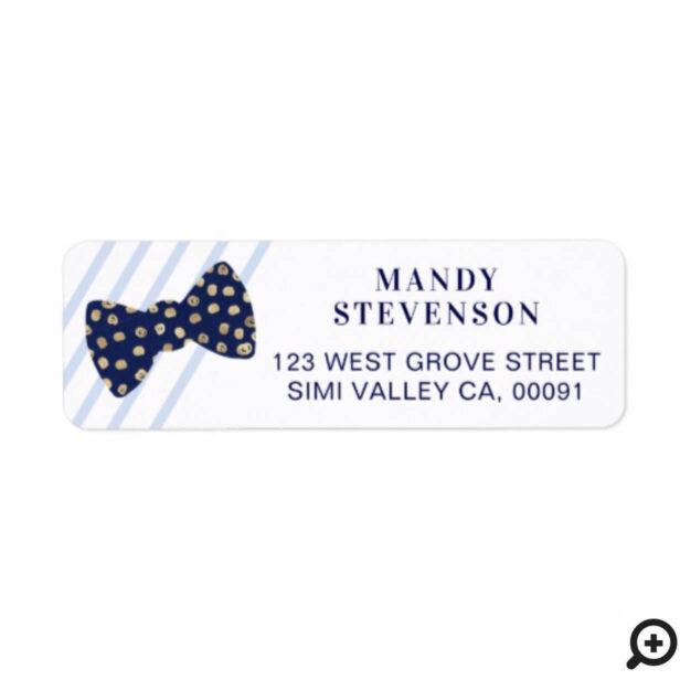 Modern Navy & Gold Polka Dot Bow Tie & Stripes Label