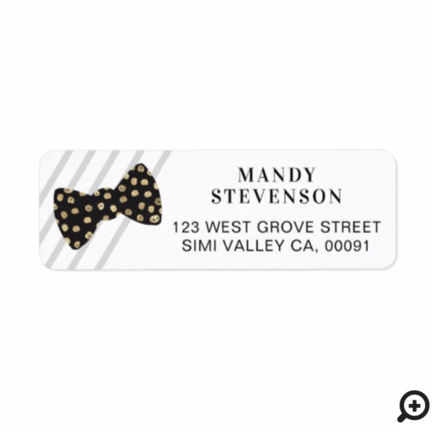 Modern Black & Gold Polka Dot Bow Tie & Stripes Label