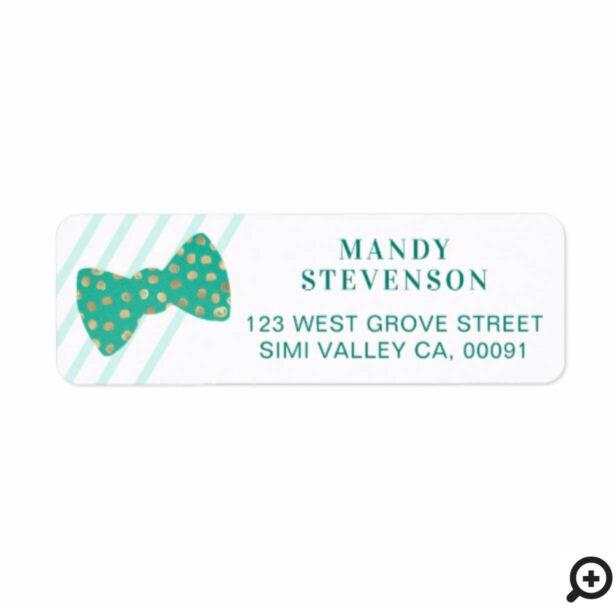 Modern Green & Gold Polka Dot Bow Tie & Stripes Label