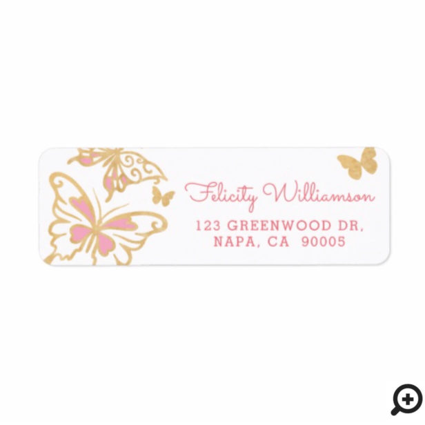 Magical Chic Pretty Cute Gold and Pink Butterflies Label