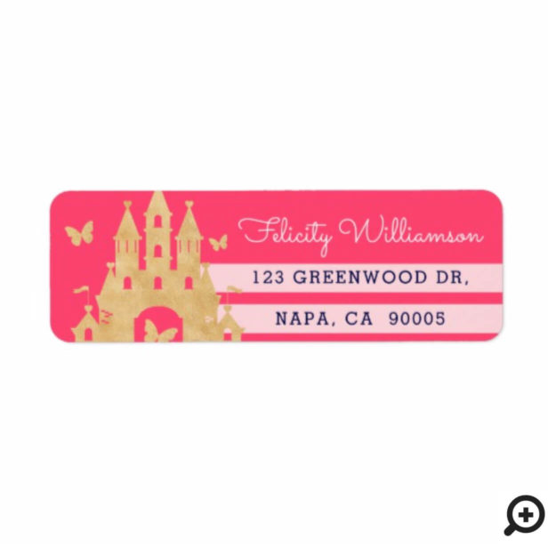 Pink Little Princess Magical Gold Castle Baby Girl Label
