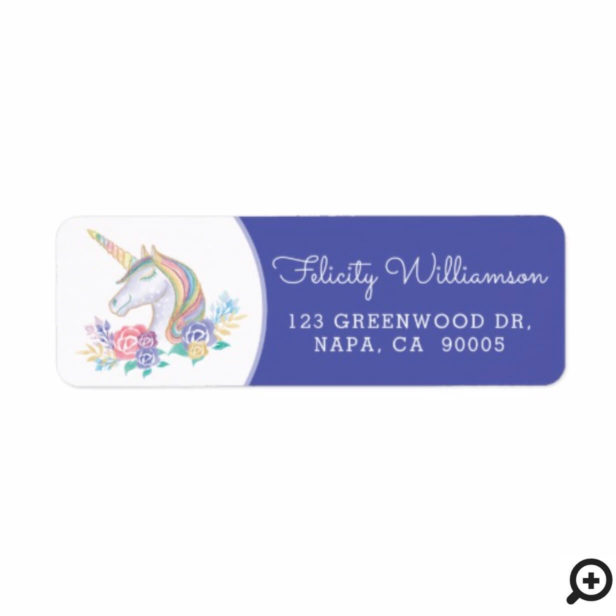 Cute Magical Floral Watercolor Unicorn Baby Shower Label