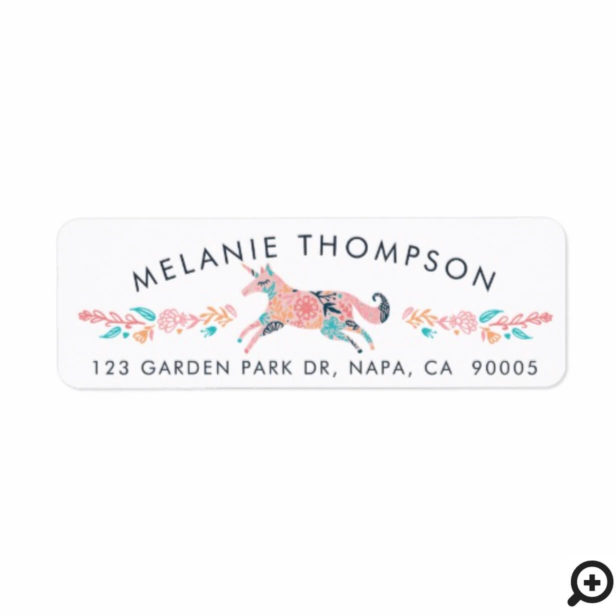 Beautiful Chic Pink Floral Whimsical Unicorn Horse Label