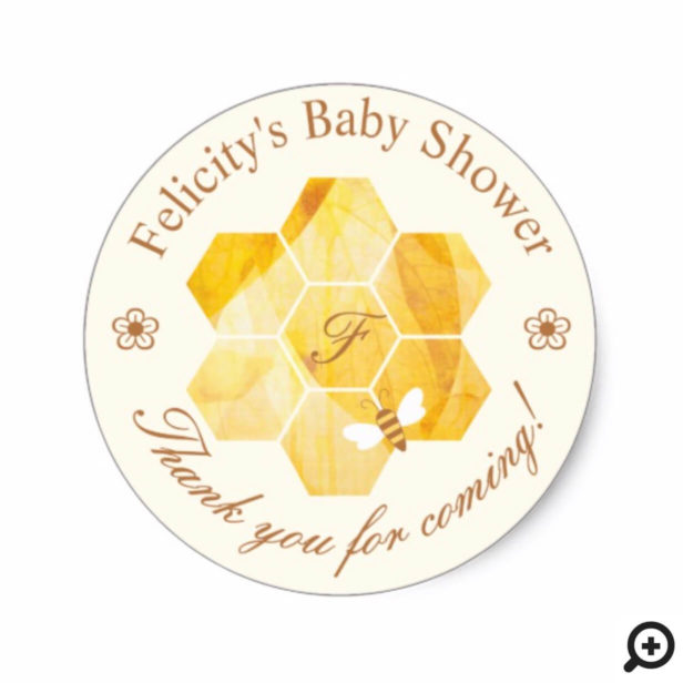 Honeycomb Watercolor Flower & Bee Baby Shower Classic Round Sticker