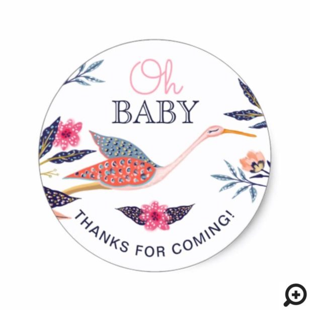 Chic Floral Botanical Stork Baby Shower Thank You Classic Round Sticker