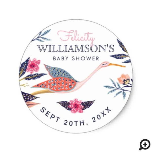 Chic Floral Botanical Flying Stork Baby Shower Classic Round Sticker