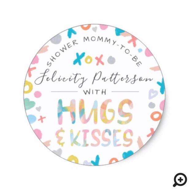 Watercolour XOXO Hugs, Love & Kisses Baby Shower Classic Round Sticker