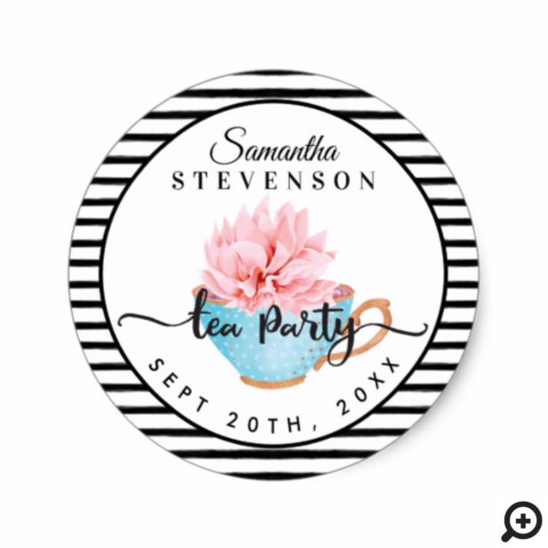 Blue Floral Tea Party Teacup Stripe Baby Shower Classic Round Sticker
