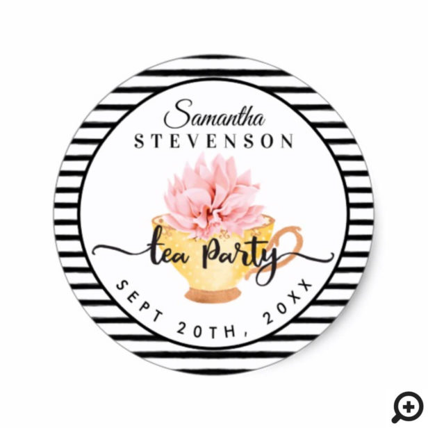 Yellow Floral Tea Party Teacup Stripe Baby Shower Classic Round Sticker