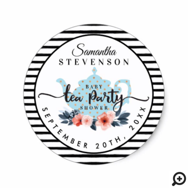 Blue Floral Tea Party Teapot Stripe Baby Shower Classic Round Sticker