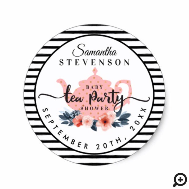 Pink Floral Tea Party Teapot Stripe Baby Shower Classic Round Sticker