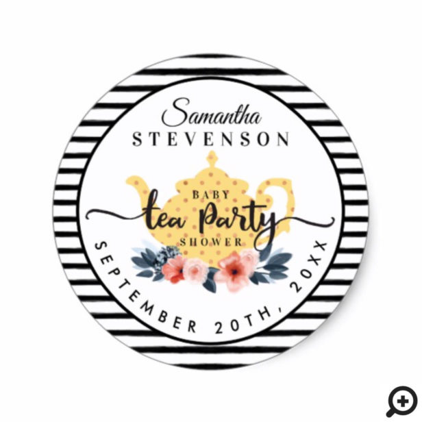 Yellow Floral Tea Party Teapot Stripe Baby Shower Classic Round Sticker
