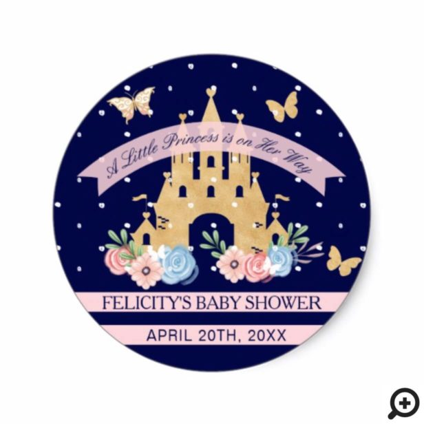 Little Butterfly Princess Castle Baby Girl Shower Classic Round Sticker