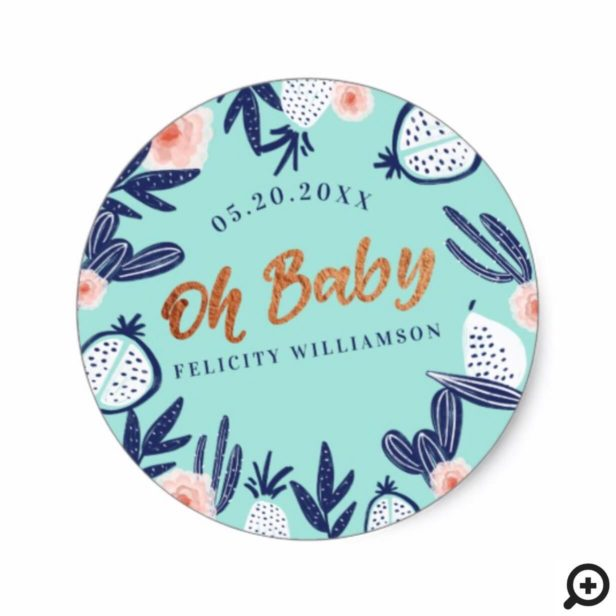 Blue Tropical Fruit Cactus Florals Baby Shower Classic Round Sticker