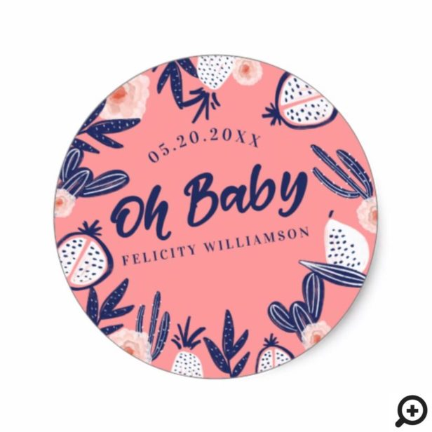 Pink Tropical Fruit Cactus Florals Baby Shower Classic Round Sticker