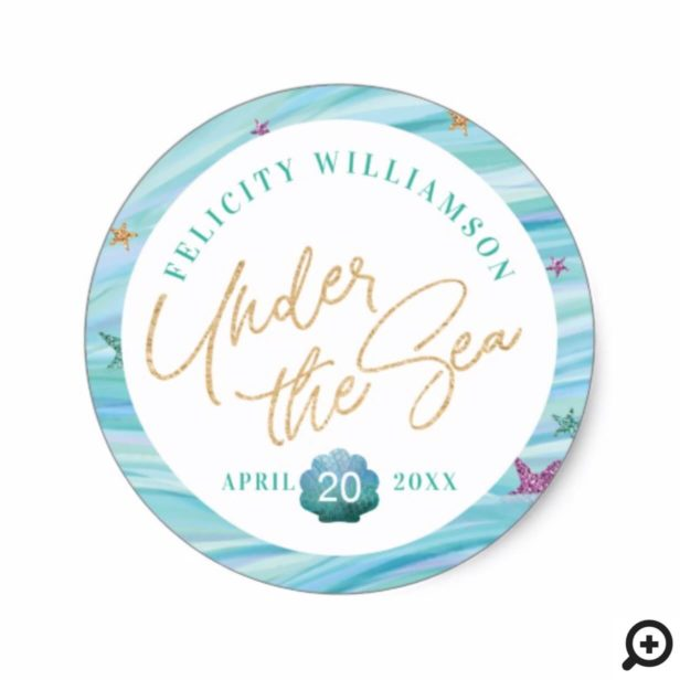 Ocean Waves Under The Sea Mermaid Baby Shower Classic Round Sticker
