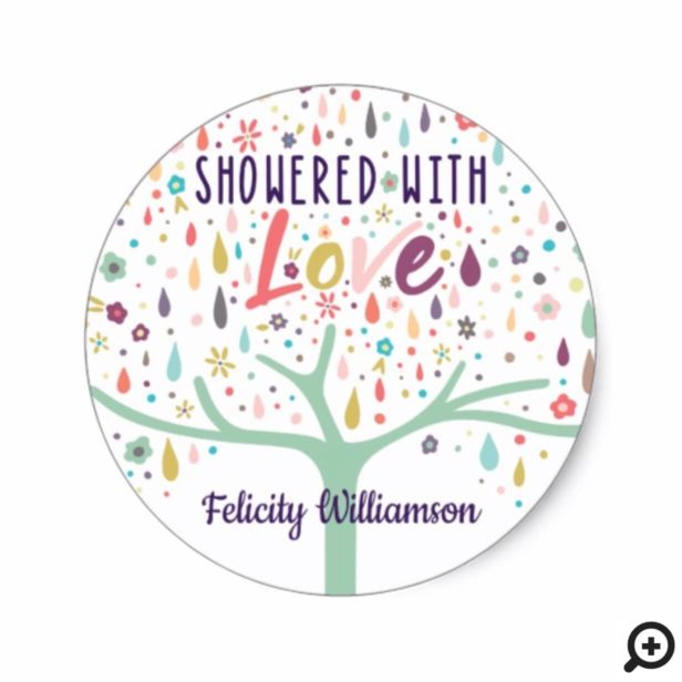 Colorful Modern Raindrop Floral Tree Baby Shower Classic Round Sticker