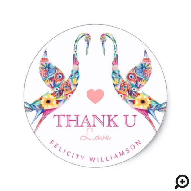 Floral Botanical Stork Baby Girl Thank You Classic Round Sticker