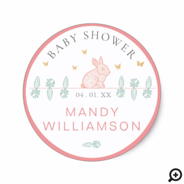 Country Woodland Bunny Rabbit Easter Baby Showers Classic Round Sticker